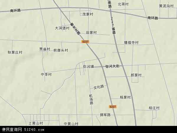 中国山东省潍坊市青州市弥河镇地图(卫星地图)
