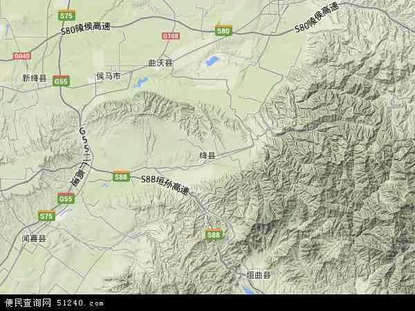 中国山西省运城市绛县磨里镇地图(卫星地图)