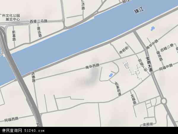 中国广东省广州市海珠区南华西地图(卫星地图)