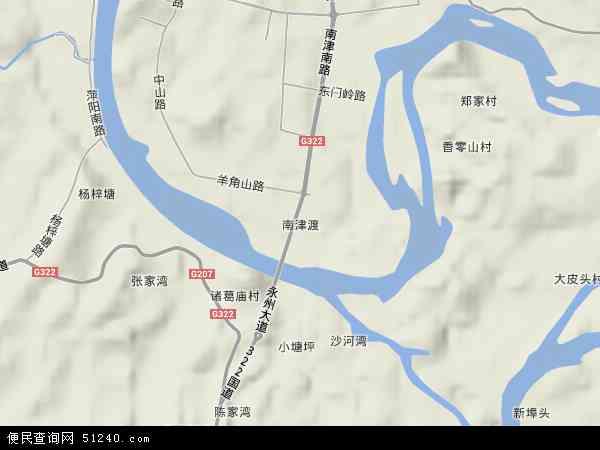 中国湖南省永州市零陵区南津渡地图(卫星地图)