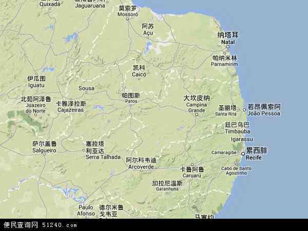 帕拉伊巴高清卫星航拍地图