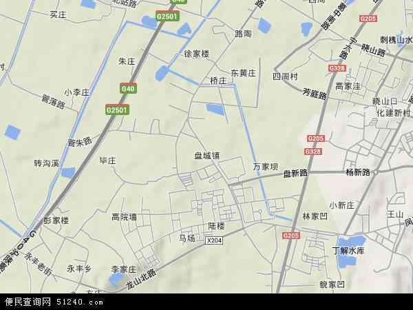 中国江苏省南京市浦口区盘城地图(卫星地图)