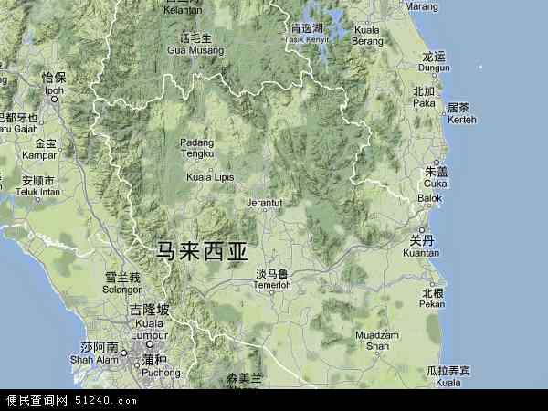 马来西亚彭亨地图(卫星地图)