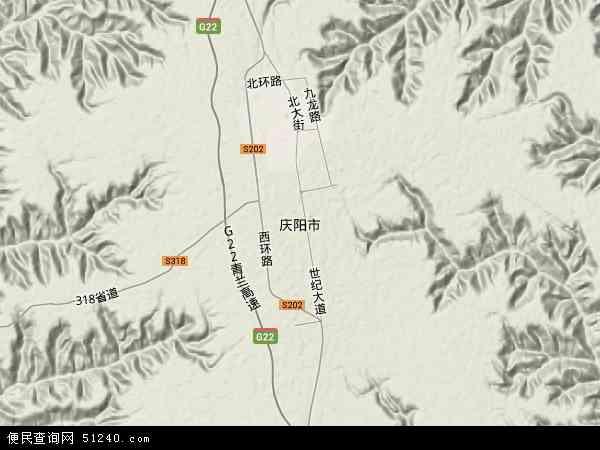 中国甘肃省庆阳市地图(卫星地图)图片