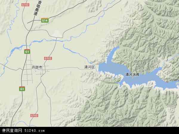 中国辽宁省铁岭市清河区地图(卫星地图)