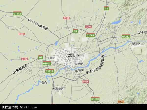 中国辽宁省沈阳市地图(卫星地图)