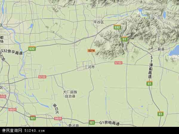 中国河北省廊坊市三河市地图(卫星地图)