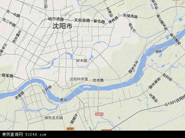 中国辽宁省沈阳市沈河区地图(卫星地图)