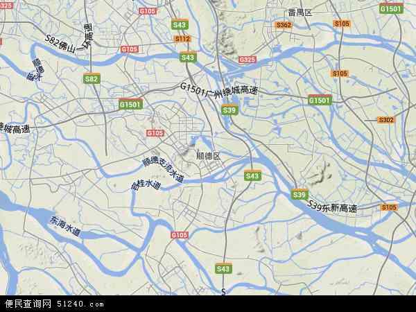 中国广东省佛山市顺德区地图(卫星地图)