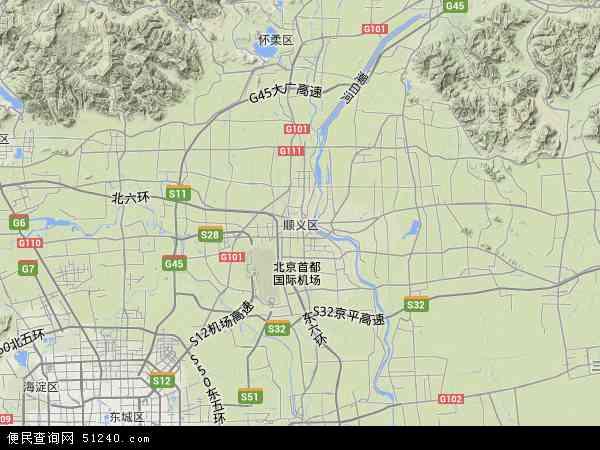 中国北京市顺义区地图(卫星地图)