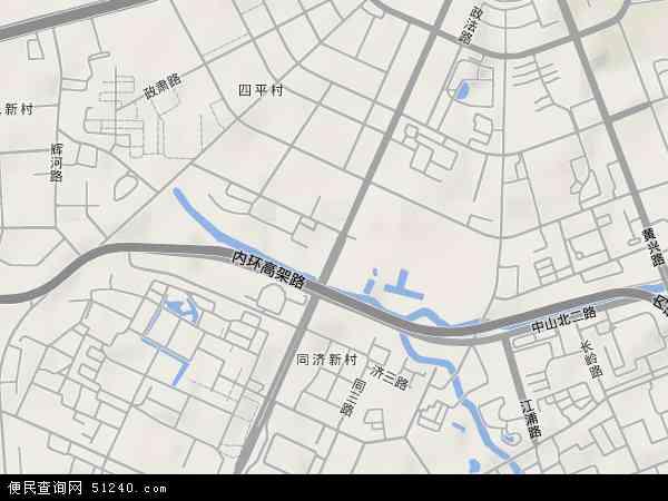 中国上海市杨浦区四平路地图(卫星地图)