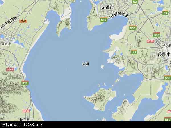 中国浙江省湖州市长兴县太湖地图(卫星地图)图片