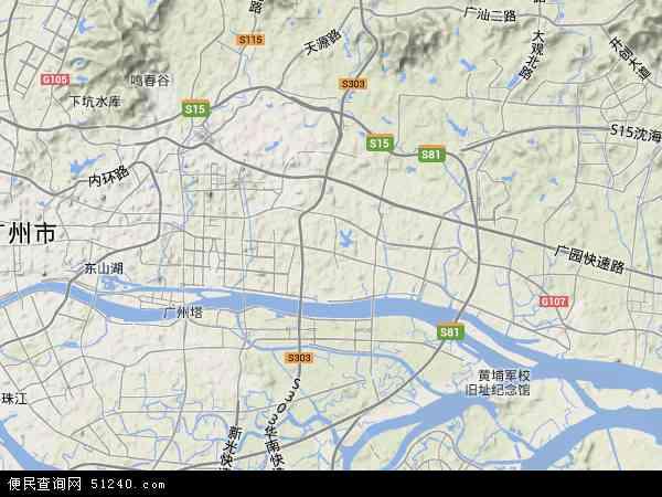 中国广东省广州市天河区地图(卫星地图)