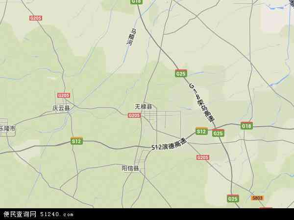 中国山东省滨州市无棣县地图(卫星地图)