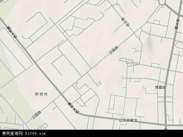 中国辽宁省辽阳市白塔区卫国路地图(卫星地图)