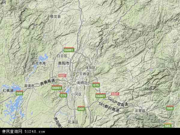 中国贵州省贵阳市乌当区地图(卫星地图)图片