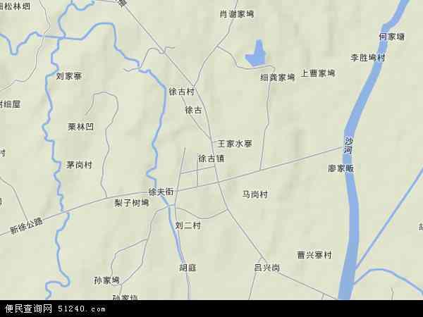 中国湖北省武汉市新洲区徐古镇地图(卫星地图)