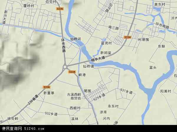 中国广东省揭阳市榕城区仙桥地图(卫星地图)
