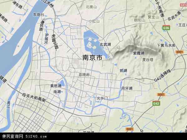 中国江苏省南京市玄武区地图(卫星地图)