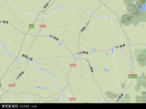 中国吉林省长春市榆树市地图(卫星地图)