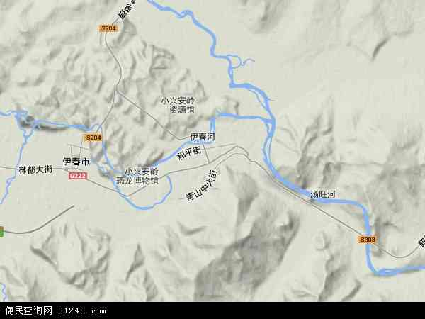中国黑龙江省伊春市伊春区地图(卫星地图)