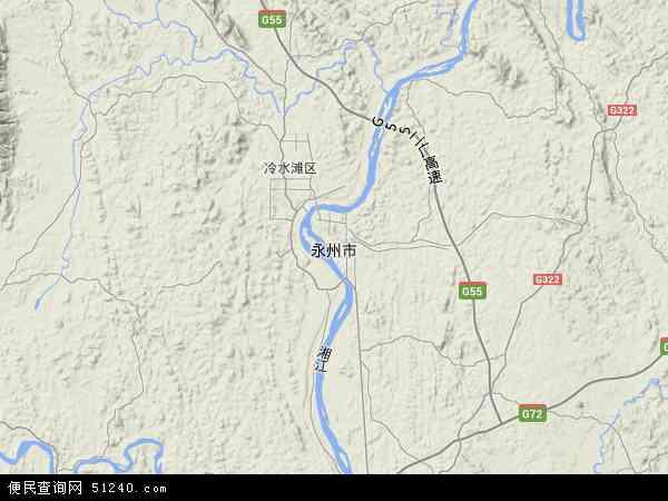 中国湖南省永州市地图(卫星地图)