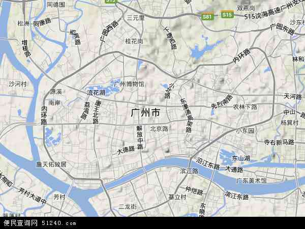 中国广东省广州市越秀区地图(卫星地图)