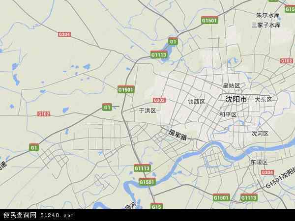 中国辽宁省沈阳市于洪区地图(卫星地图)