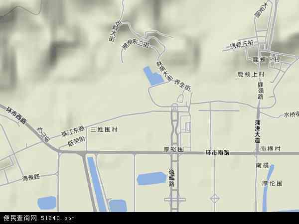 中国广东省广州市南沙区珠江地图(卫星地图)