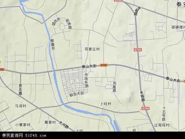 中国山东省泰安市岱岳区粥店地图(卫星地图)