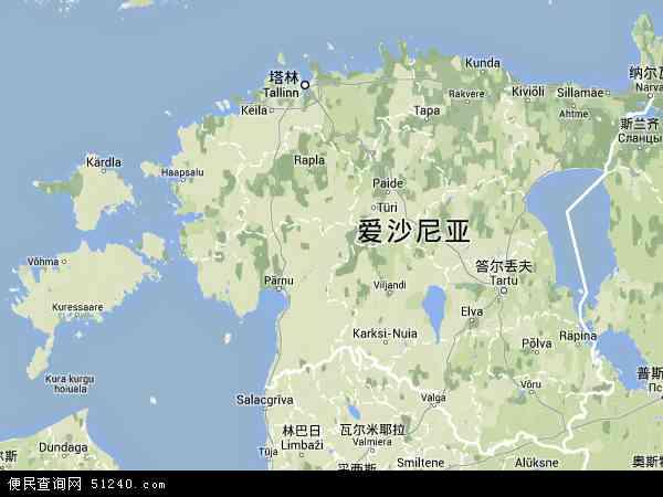 爱沙尼亚地形图 - 爱沙尼亚地形图高清版 - 2016年爱沙尼亚地形图