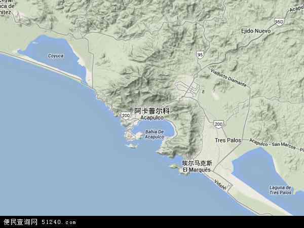 阿卡普尔科高清卫星航拍地图