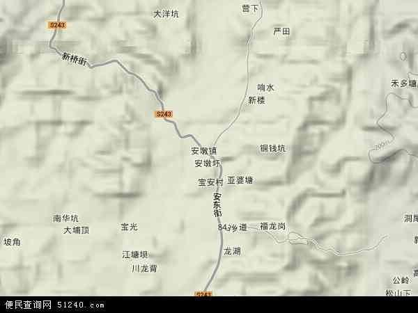 安墩镇地形地图
