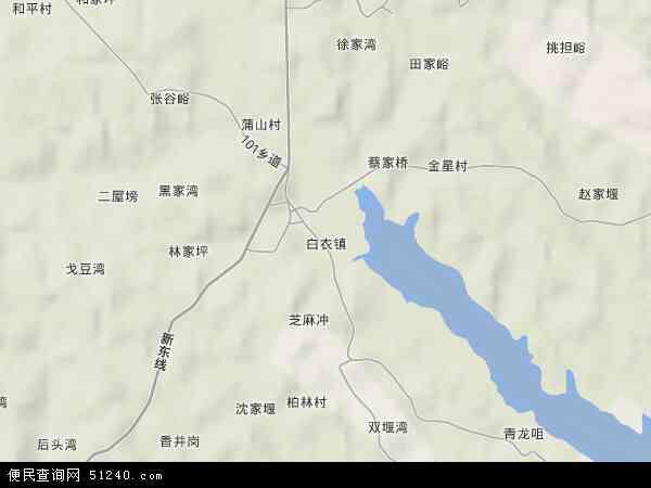 中国湖南省常德市津市市白衣镇地图(卫星地图)