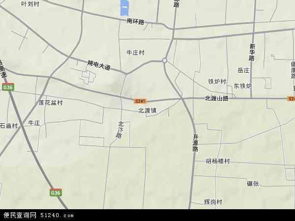 中国河南省平顶山市湛河区北渡镇地图(卫星地图)