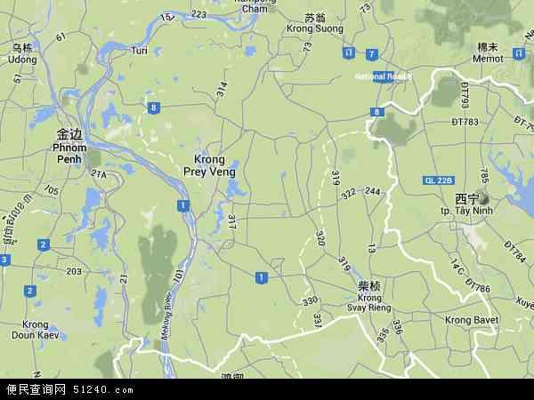 柬埔寨波罗勉地图(卫星地图)