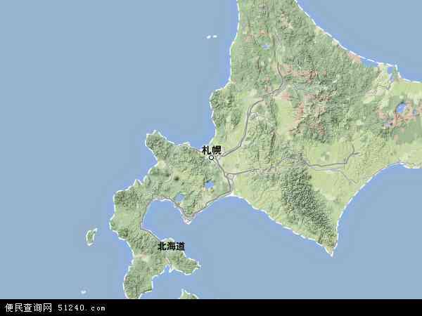 日本北海道地图(卫星地图)