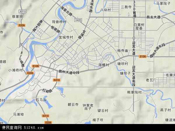 中国重庆市荣昌县昌元地图(卫星地图)