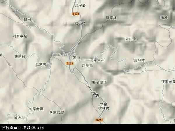 中国湖北省襄阳市保康县店垭镇地图(卫星地图)