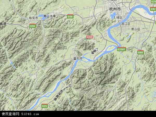 中国浙江省杭州市富阳市地图(卫星地图)