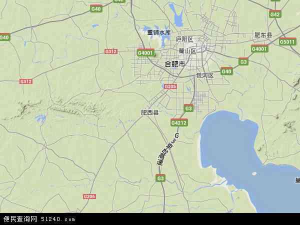 中国安徽省合肥市肥西县地图(卫星地图)
