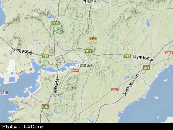 中国辽宁省大连市普兰店市复州湾地图(卫星地图)