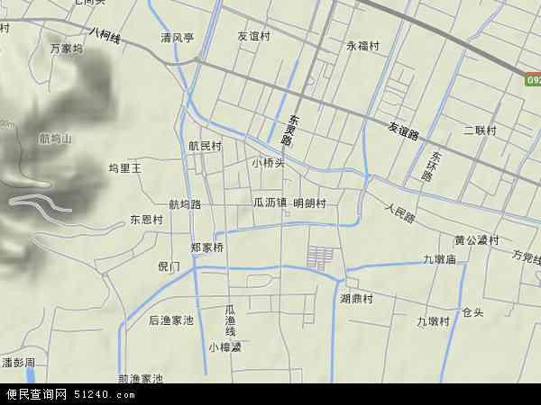 瓜沥镇地形地图