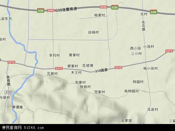 中国陕西省渭南市华县瓜坡镇地图(卫星地图)