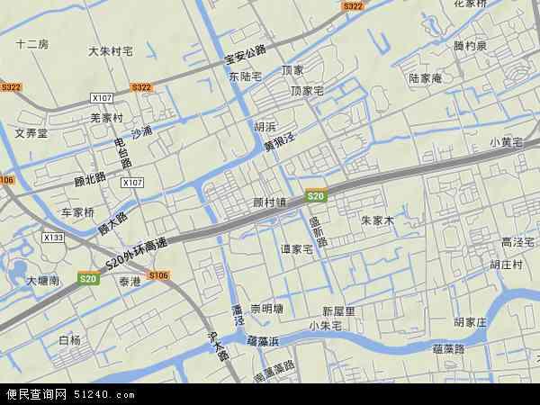 中国上海市宝山区顾村镇地图(卫星地图)