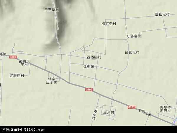 中国河北省唐山市玉田县孤树镇地图(卫星地图)
