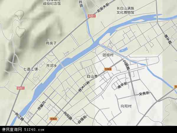 中国吉林省白山市浑江区红旗地图(卫星地图)