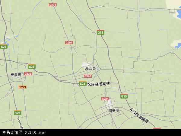 中国江苏省南通市海安县地图(卫星地图)