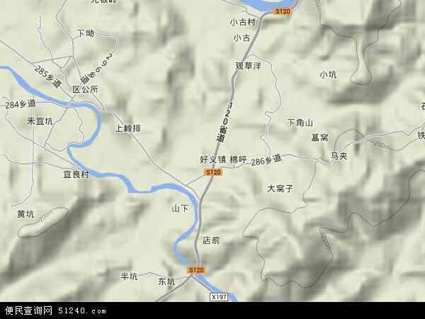 中国广东省河源市紫金县好义镇地图(卫星地图)