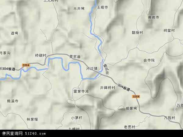 河沙镇地形地图
